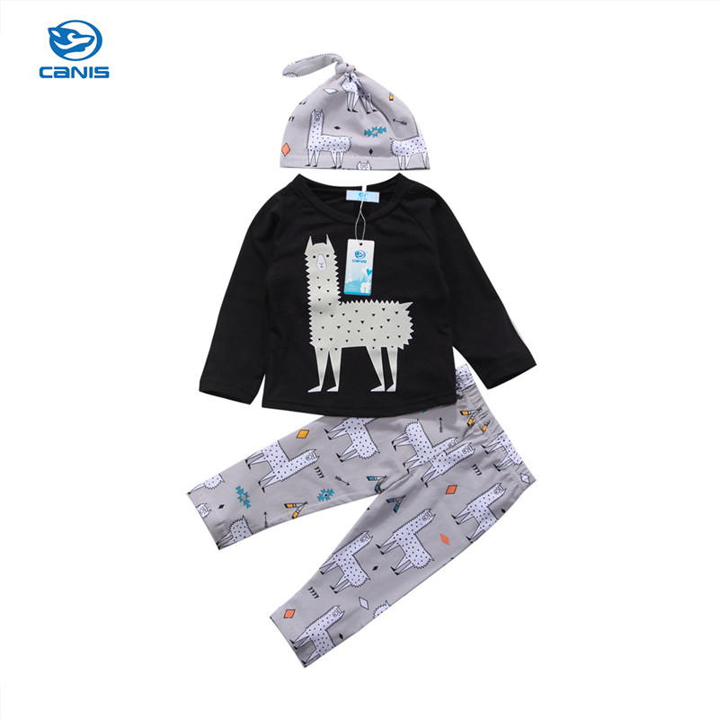 Newborn Toddler Baby Boy Clothing Long Sleeve Alpaca Hooded Sweater T-shirt Tops+Pants Hat Outfits 3pcs Autumn Set Clothes 0-24M 2pcs newborn baby boys clothes set gold letter mamas boy outfit t shirt pants kids autumn long sleeve tops baby boy clothes set
