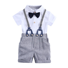 Baby Boys Clothes Sets 2019 Summer Toddler Boy Gentleman Tie Blouse Romper And Overalls Shorts Outfits Kids Party Clothing Set цена в Москве и Питере