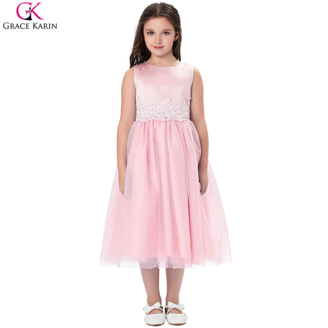 b45d84488a4 Grace Karin Flower Girl Dresses Pearl Appliques Kids Pageant Toddler Tulle  Princess Communion Dress Frocks Evening Party Gowns