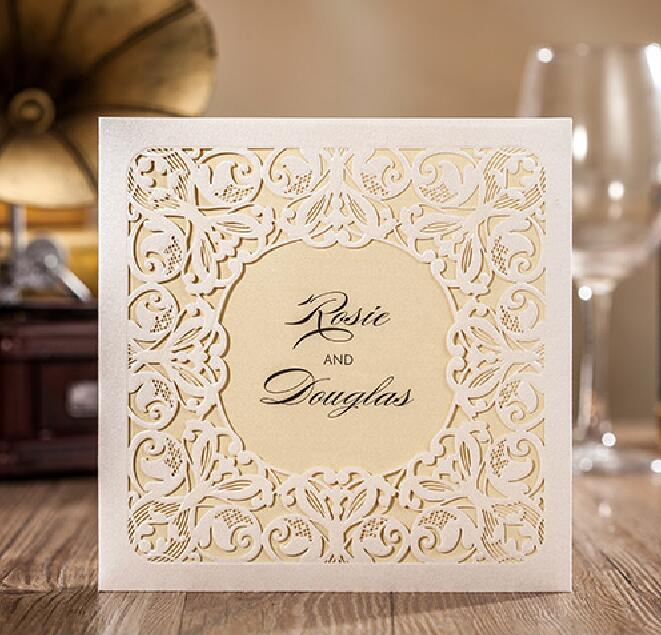 Luxury White Laser Cut Wedding Invitations Card Customised Printing And Birthday Party Cards CW6080 Free Shipping