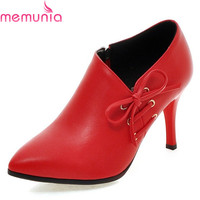 MEMUNIA Fashion High Quality Pointed Toe Lace Up Women Pumps Stiletto High Heels Classics Solid Leisure