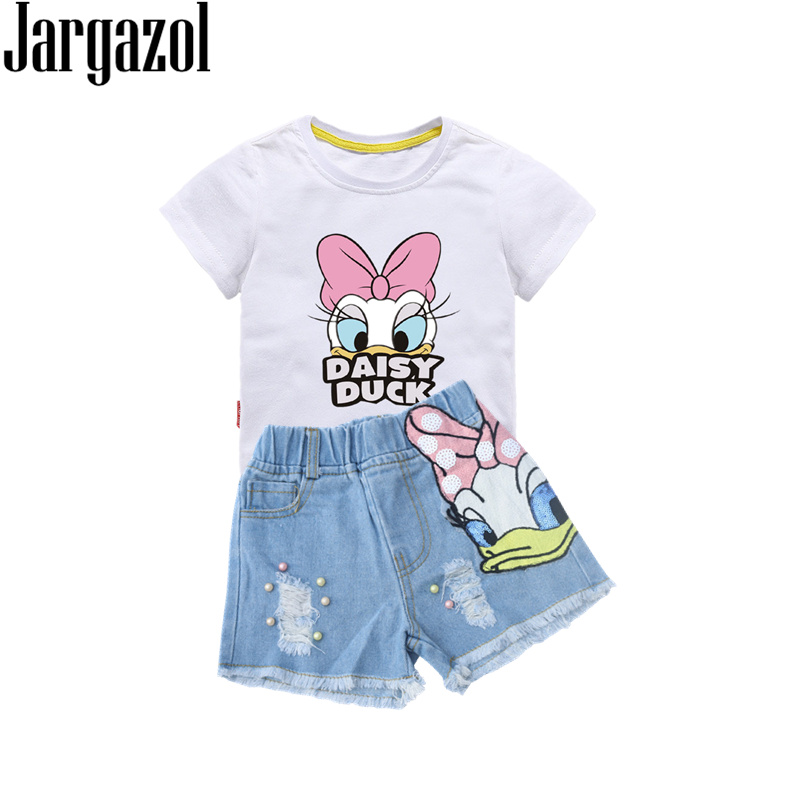 Girls Outfits Cartoon Duck Printed Summer Shirt&Sequins Broken Hole Denim Shorts Toddler Girls Clothing Set Children Clothes