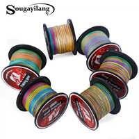 Sougayilang trenza de pesca 0,4-8 # trenzada sedal súper fuerte multicolor Pe Material línea Multifilamento 500 M