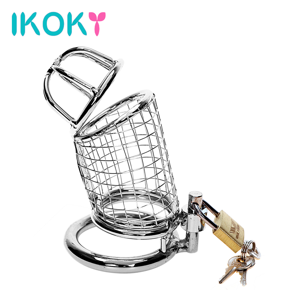 Buy IKOKY Sex Products Lockable Penis Cock Ring Sleeve Lock Stainless Steel Cock Cage Male Chastity Device Sex Toys Men