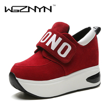 WGZNYN 2017 Automne Plate-Forme Chaussures Femme Slip on Casual Femmes Chaussures Bout Rond Appartements Zapatillas Mujer Taille 35-39