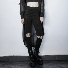 New punk Europe gothic hollow out trousers cultivate one's morality show thin personality women trousers