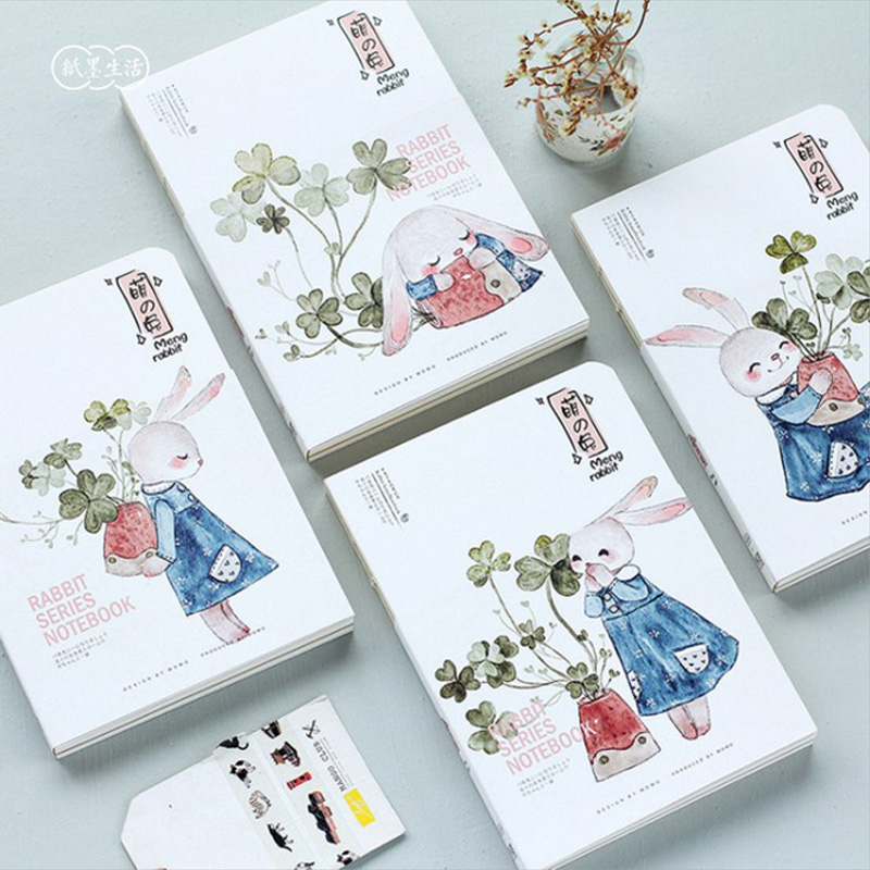 Cute Rabbit A5 notebook journal diary book planner hand books note pad for kids kawaii stationery betsy franco q and a a day for kids a three year journal