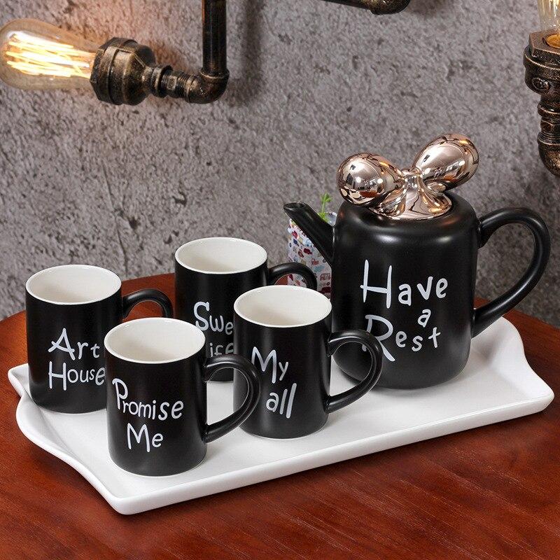 5 stks/set Europese Stijl Keramische Mokken Porselein Koffie Mokken Cups met Thee Pot Tuimelaars met Lade Cf651 - 5