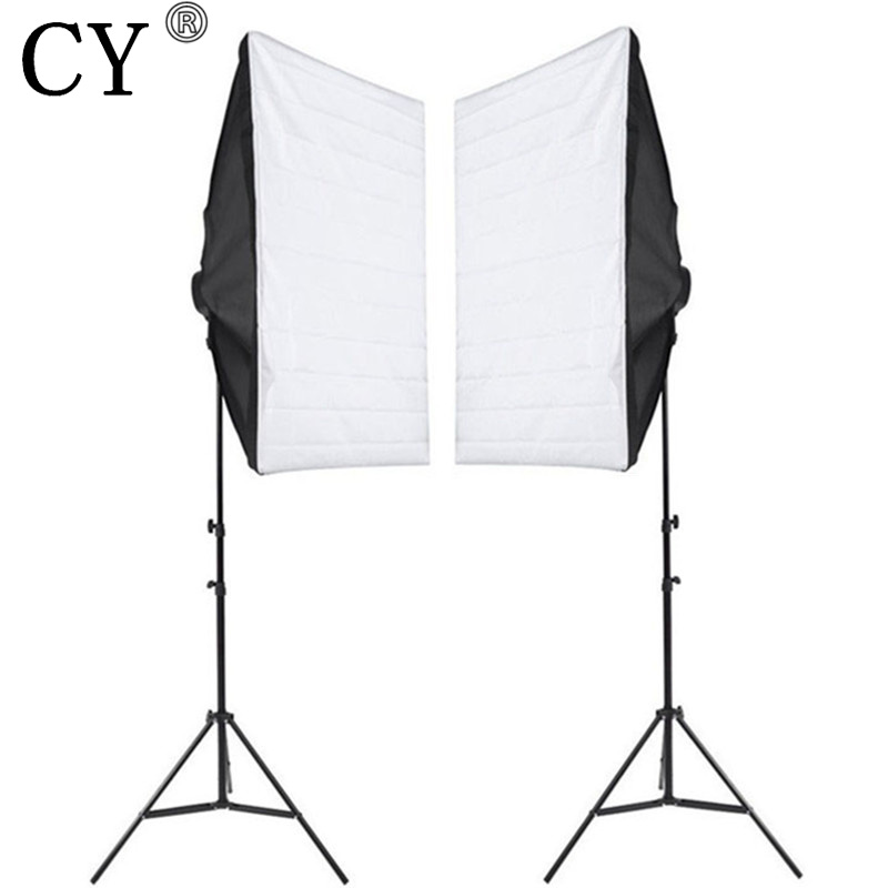 CY Photography Studio Soft Box Continuous Lighting Kits Light Stand*2 + SoftBox with 220V E27 4 Lamp Holder*2 Photo Studio Set professional photographic equipment camera softbox with light stand photo studio soft box for dslr photography studio light box