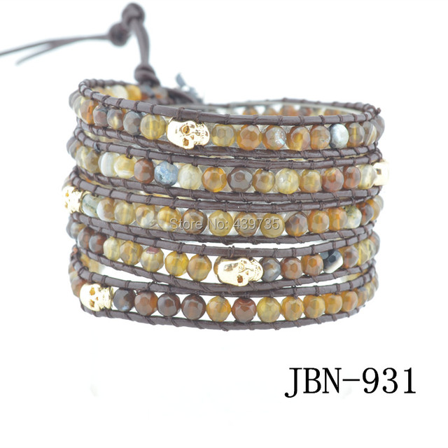 men leather bracelet neatural agate and skull handmade bracelets &bangles  handmade jewelry  for men and women JBN-931