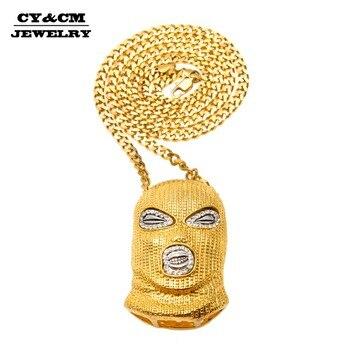 20bad4d6fbd7 ... y sombreros de oro colgante de plata de diamantes de imitación de  cristal helado Collar para los hombres las mujeres máscara Hip Hop collares  de joyería ...