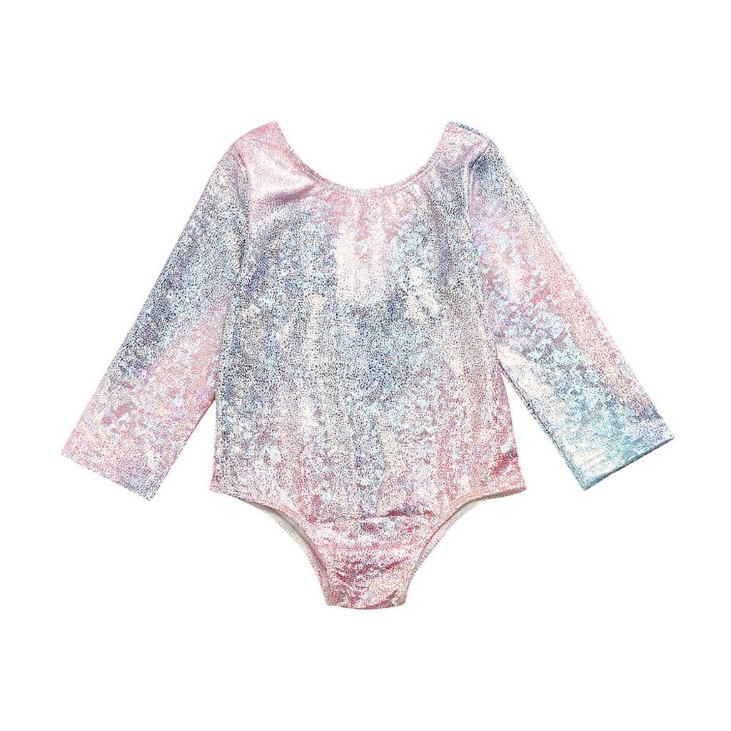 Infant Kids Baby Girls Gradient Color Swimwear Swimsuit Bikini One Piece Printed Outfits Bathing Suit Rash Guard
