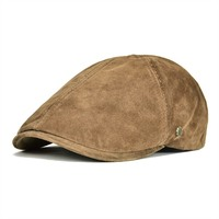 VOBOOM Suede Leather Newsboy Cap Men Women Frosted Nubuck Pigskin 8 Panel Gatsby Baker Hat with Lining 153