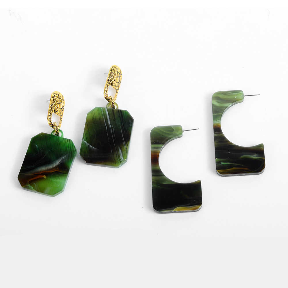 Vintage Green Geometric Acetate Acrylic Dangle earring For Women Korean Style Resin Statement Big earring Fashion Jewelry 2019