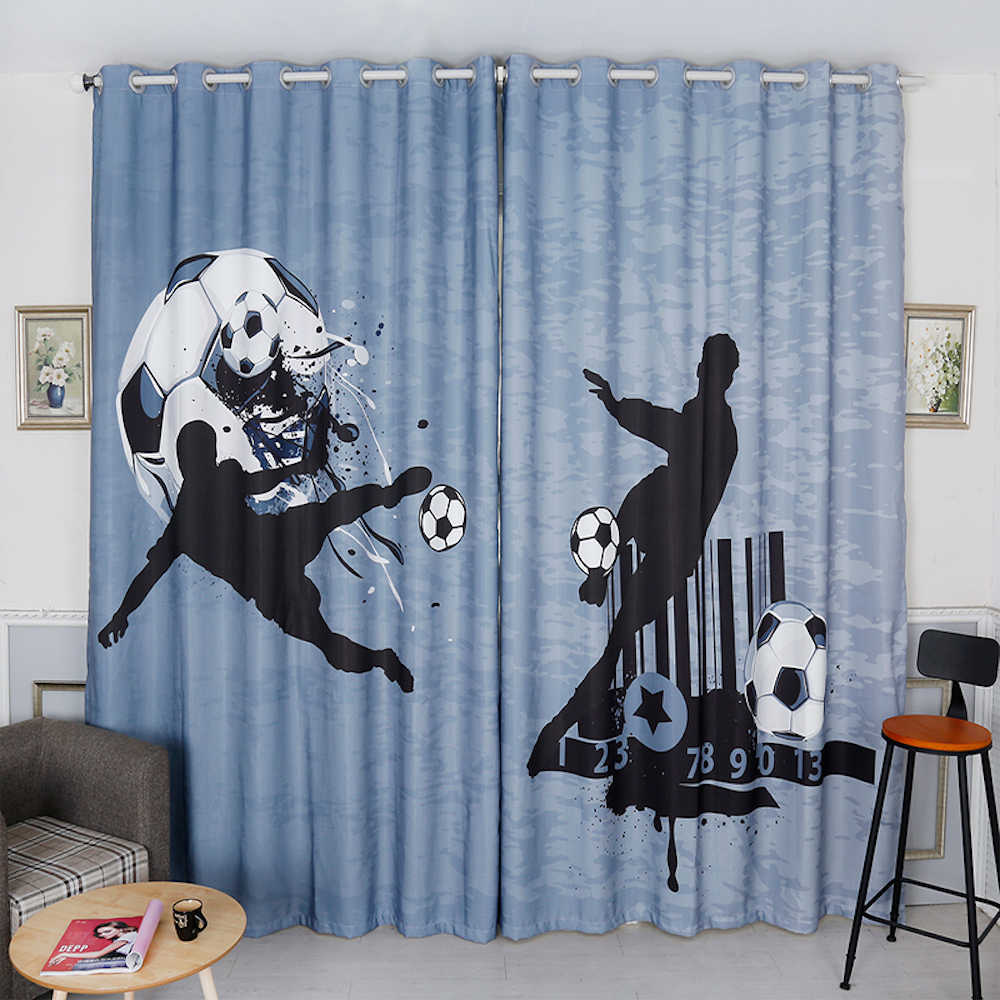 Personal Tailor 2x Grommet Window Drapery Curtain Tulle Nursery Kids Children Room Window Dressing 200cm x 260cm Football Soccer
