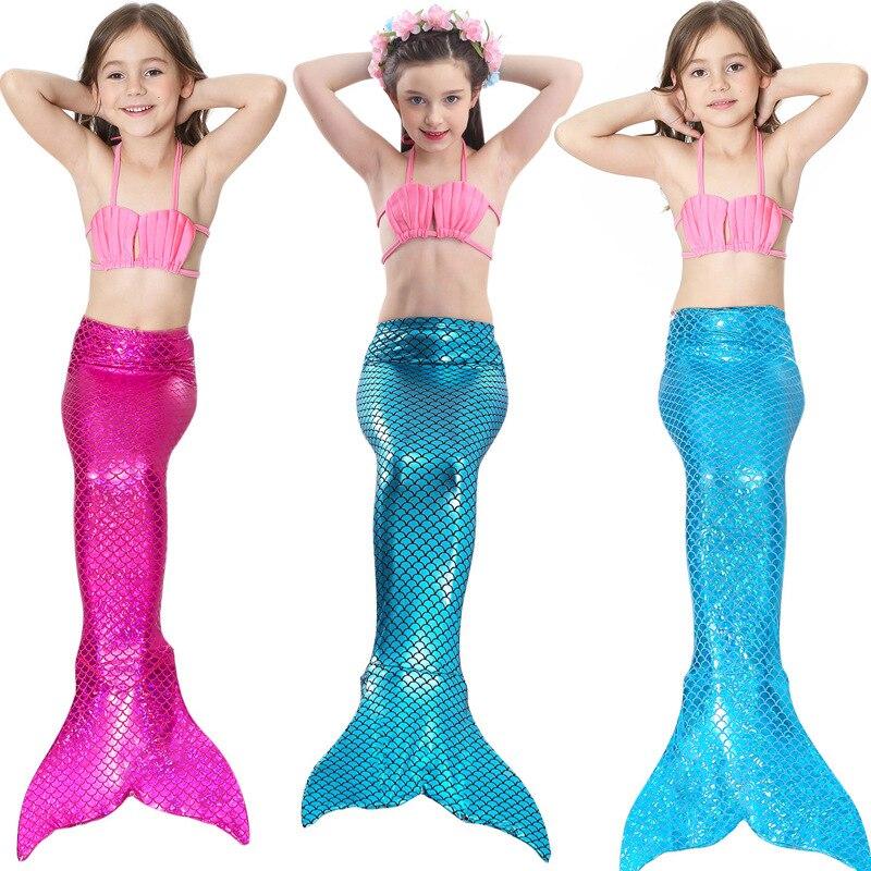 Mermaid Kids Cosplay Traje de baño Traje Niñas Little Mermaid Tails - Disfraces
