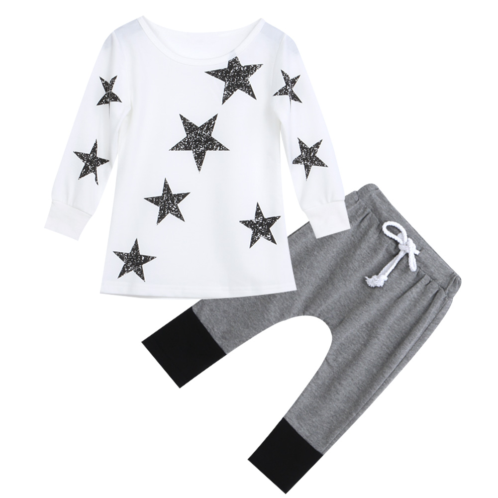 2PCS star set Autumn Spring Toddler Kids Baby Girls Outfits long sleeve T-shirt Tops Dress+ Denim Pants Clothes Set 2pcs set autumn cartoon rabbit toddler baby kid girls long sleeve suit t shirt tops pants costume tracksuit outfits 1 5t