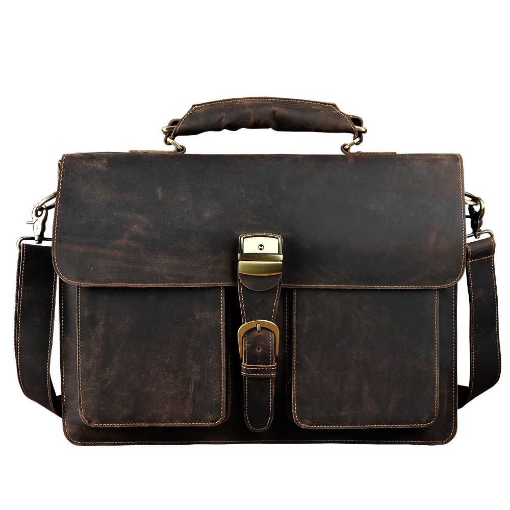 Men Original Leather Heavy Dudy Business Briefcase Laptop Case Professional Executive Portfolio Organizer Messenger Bag 1031d business padfolio portfolio with letter size writing notepads deluxe executive vintage brown leather padfolio new