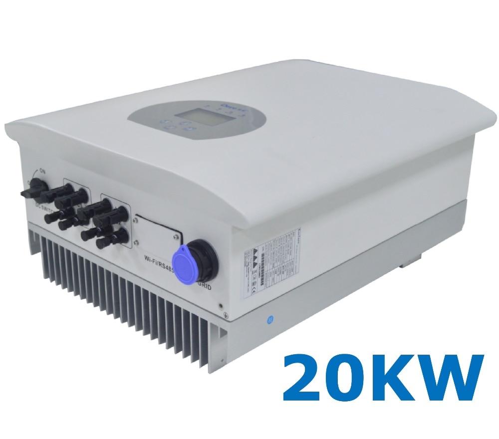 20000 W de energía Solar en la red inversor de fase 3 AC 380 V/440 V DC 200- 1000 V PV sin transformador 7KW Wi-Fi