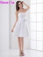 Weiß Einfache Sommer Anrede Brautjungfer Kleider Strapless Knielangen Informellen Country Western Brautjungfer Robes Nach Maß