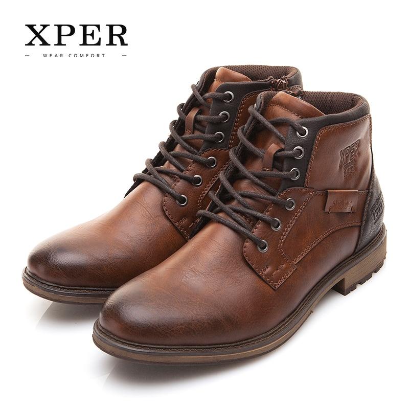 Xper осень-зима большой размер 40-48 Снег Сапоги Мужская обувь в винтажном стиле мужские ботинки Повседневная мода high-cut Lace-Up Теплый Hombre # XHY12504BR