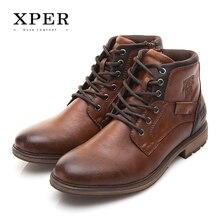 d2e4c9ac45b2 Xper осень-зима большой размер 40-48 Снег Сапоги Мужская обувь в винтажном  стиле