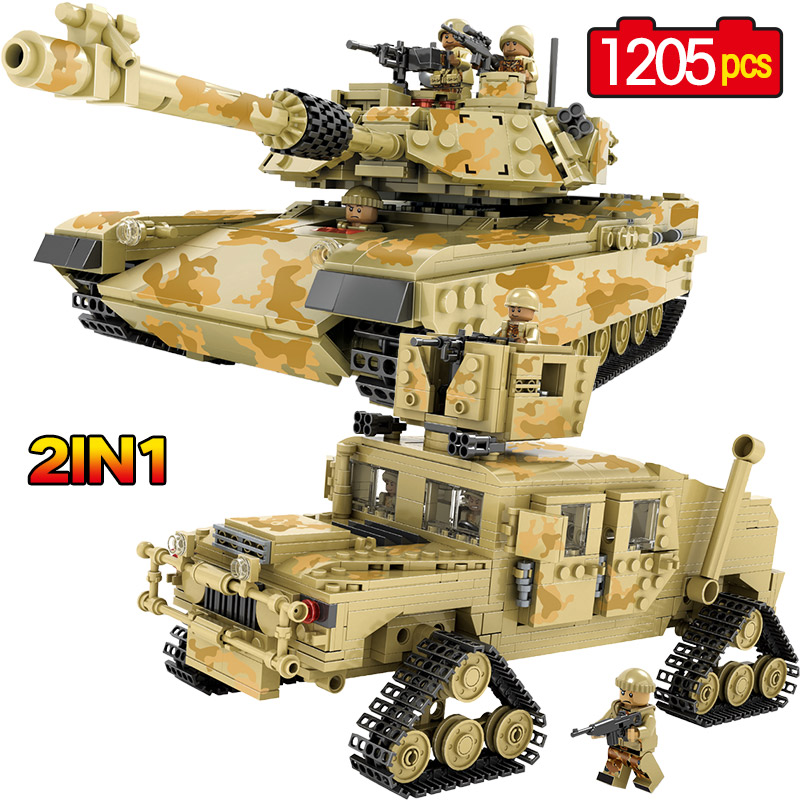 New 1205pcs Military Theme Tank Hummer Building Blocks M1A2 ABRAMS SEP Toy Tank Caterpillar Hummer Models Toys For Children new century military m1a2 abrams tank cannon deformation hummer cars building blocks bricks figures toys for children