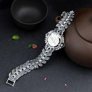 Image 4 - ใหม่ Elegant ธุรกิจ 925 เงินสเตอร์ลิงสตรีฤดูใบไม้ร่วงสร้อยข้อมือนาฬิกา