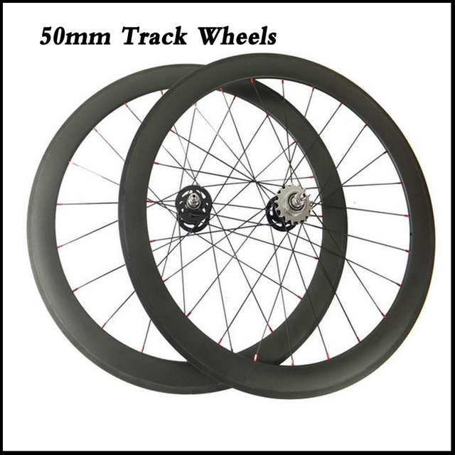 Track Fixed Gear Carbon Wheels 50mm Carbon Clincher Tubular Bicycle Racing Track Single Speed Wheelset