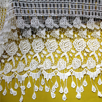 #Free Shipping High Quality African/Cupion/Guipure Lace In Fabric For Wedding Dress,Embroidery Chemical Lace Fringe Tassel Lace