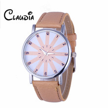 CLAUDIA Special Fashion Women's Geneva Fashion Leather Analog Stainless Steel Quartz Wrist Watch FreeShipping Newest Reloj Mujer