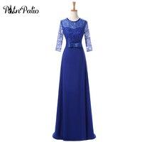 PotN'Patio Cộng Với Kích Thước Bridesmaid Dresses Dài 2017 New Thanh Lịch Voan Royal Blue Bridesmaid Gown Với Tay Áo Ren