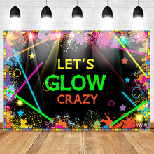 Mehofoto Lets Glow Backdrops Glow in The Dark Birthday Party Banner Decoration Laser Neon Splatter Paint Photo Booth Backdrops