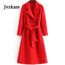 Jvzkass 2019 new autumn and winter double-sided cashmere%100 wool pure hand-sewn waist slim temperament woolen coat Z266