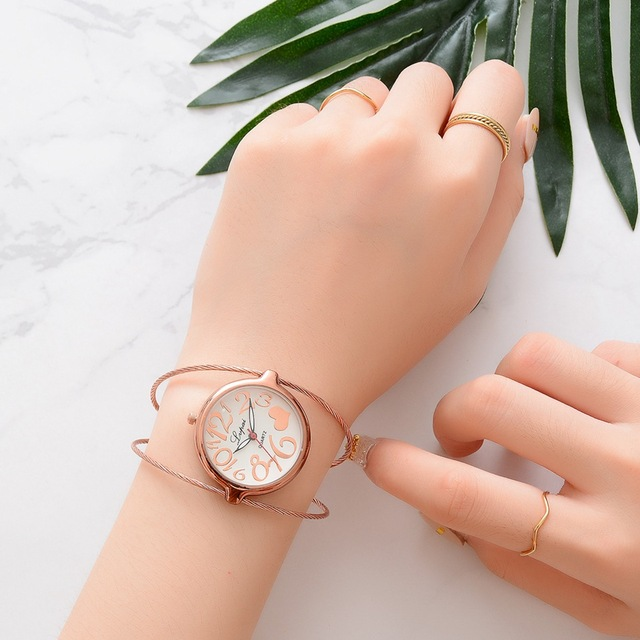 Lvpai 2018 Unique Fashion Brand Quartz Watch Women female Dress Girls Bracelet Bangle Casual Double Ring wristwatch