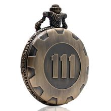 Bronze Pocket Watch Fallout 4 Vault 111 Electronic Games Necklace Chain Pendant(China)