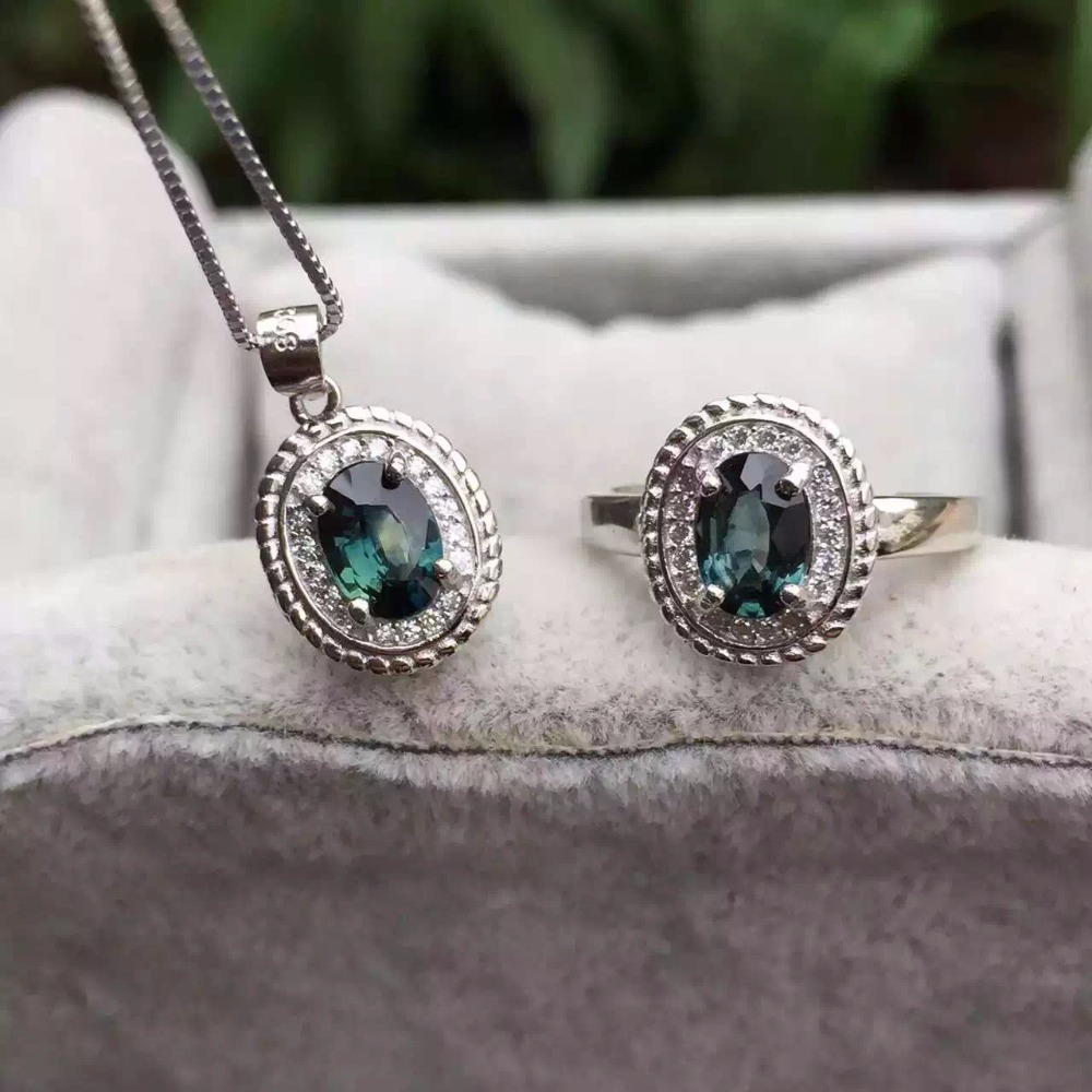 Natural blue sapphire stone wedding jewelry sets natural gemstone ring necklace earrings S925 silver Elegant Fashion Round