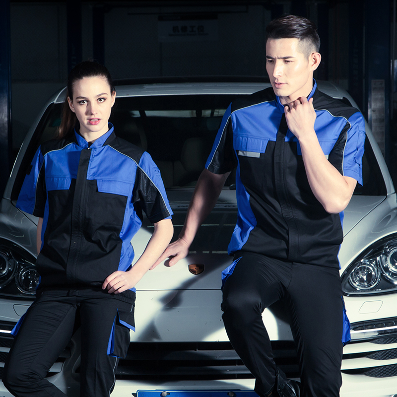 SET OF COAT+PANTS quality short sleeve welder coat mechanic uniform 4S car service uniform auto repair uniform men out of uniform
