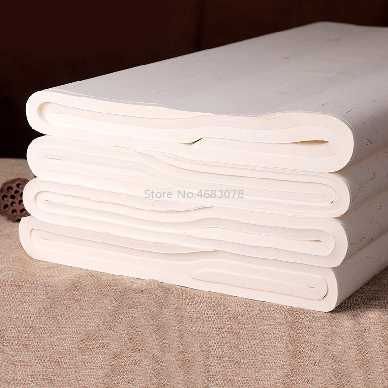 Image 2 - 100 Sheets Traditional Xuan Paper Chinese semi raw rice paper Painting Calligraphy SuppliesPainting Paper   -
