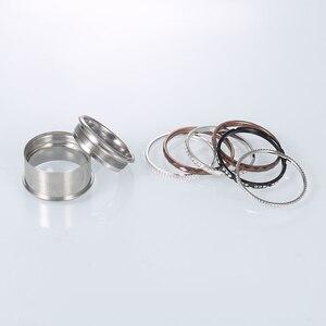 Image 4 - Floya Titanium Rings Black Stainless Steel Ring For Women Wedding Interchangeable Full Zircon Band Bague Femme Acier Inoxydable
