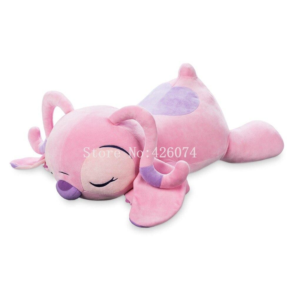 New Lilo & Stitch Sleep Angel Plush Soft Pillow Cushion For Girls Big 45CM Kids Stuffed Toys Children Gifts