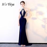 It's YiiYa Sleeveless Halter Sexy Party Frock Dress Floor Length Vintage Backless manual Diamonds Charming Evening Dress BX009