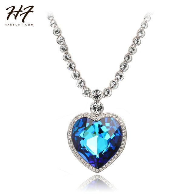 Ouro branco Plated O Coração do Oceano Azul Cristal Austríaco Pingente de Colar N585 N586