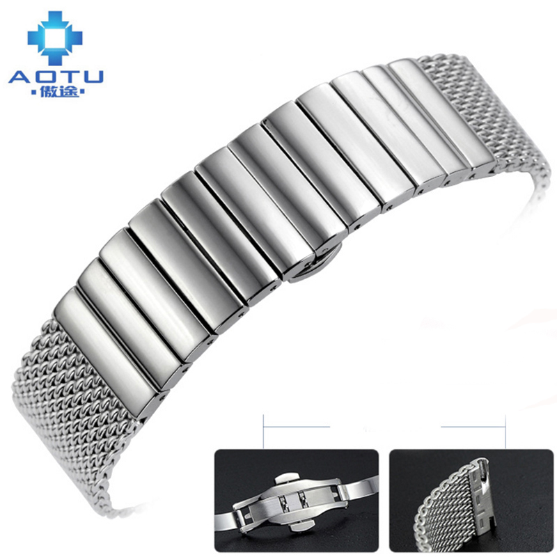 Stainless Steel Watchbands For IWC/Parker/Feno Watch Band Mesh Mens Watch Strap Clock Male Watchbands Bracelet Montre Relogio все цены