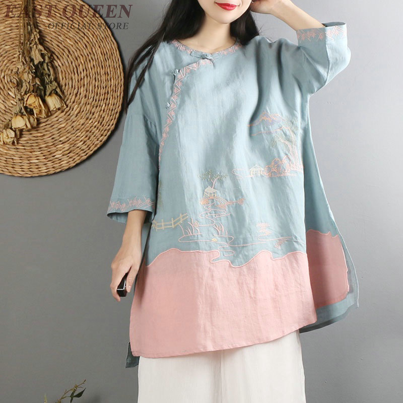 Traditional Chinese Blouse Shirt Tops For Women Mandarin Collar Oriental Linen Shirt Blouse Female Cheongsam Top AA4150