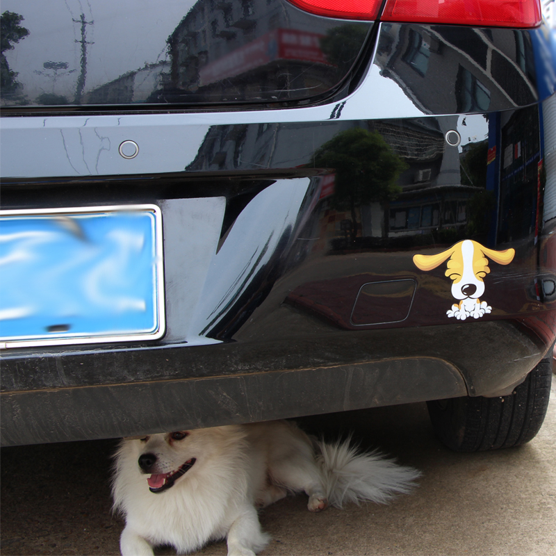 Купить с кэшбэком BEMOST Car Styling Cartoon Long Ear Dog And Dog Kiss Moving Tail Sticker Rear Window Wiper Decals Windshield Decor Stickers 1Set