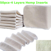 Free Shipping Organic Hemp 50pcs Cotton Cloth Diapers Inserts 4 Layers Nappy Changing Mat Baby Diapers Reusable diaper changing