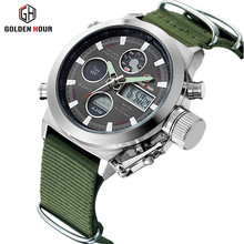 Reloj Hombre Fashion Brand Men's Sports Watches With Nylon Strap Military Digital Analog Army Watches Waterproof LED Men's Watch