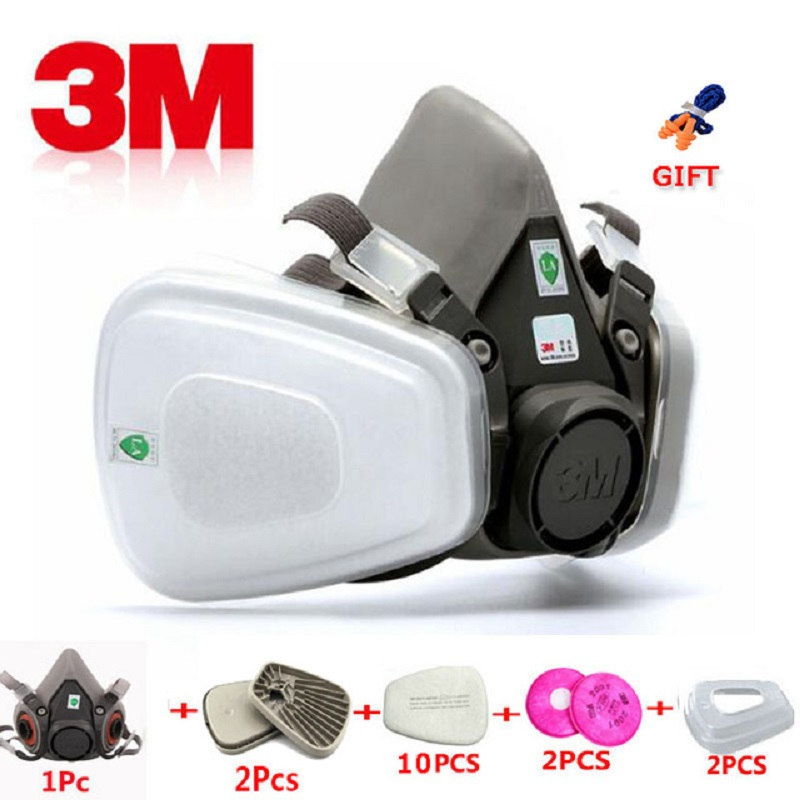 17 in 1 3M 6200 Industrial Half Mask Spray Paint Gas Mask Respiratory Protection Safety Work Dust-proof Respirator Mask Filter(China)