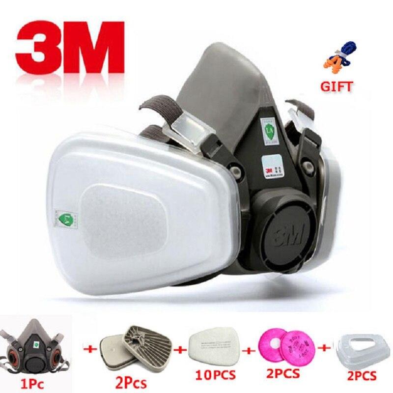17 en 1 3M 6200 demi-masque industriel peinture en aérosol masque à gaz Protection respiratoire sécurité travail étanche à la poussière respirateur masque filtre
